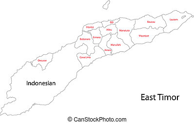 Contour East Timor map - Map of administrative divisions of...