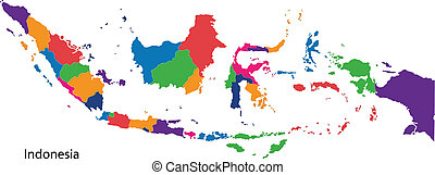 Colorful Indonesia map - Map of administrative divisions of...