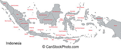 Grey Indonesia map - Map of administrative divisions of...