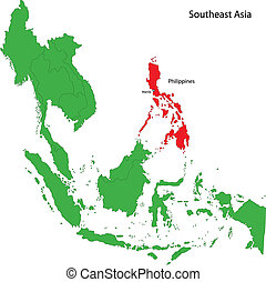 Philippines map - Location of Philippines on Southeast Asia