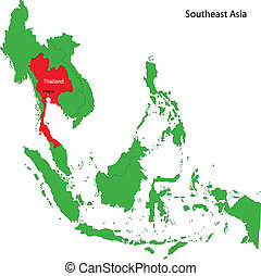 Thailand map - Location of Thailand on the Southeast Asia