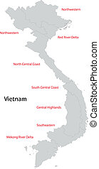 Grey Vietnam map - Vietnam map separated on the provinces