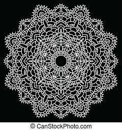 Crochet lace mandala. - Vintage handmade knitted doily....