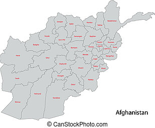 Grey Afghanistan map - Map of administrative divisions of...