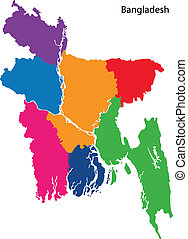 Colorful Bangladesh map - Map of administrative divisions of...