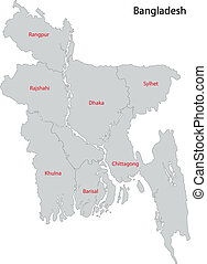 Bangladesh map - Map of administrative divisions of...