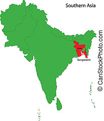 Bangladesh map - Location of Bangladesh on Southern Asia