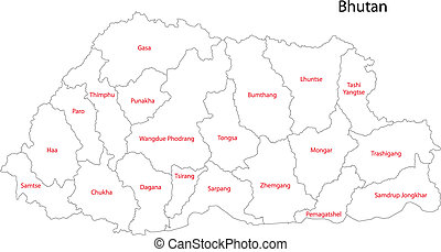 Contour Bhutan map - Map of administrative divisions of...