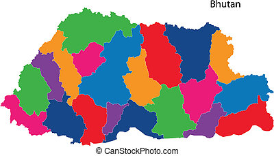 Colorful Bhutan map - Map of administrative divisions of...