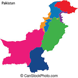 Colorful Pakistan map - Map of administrative divisions of...