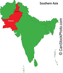 Pakistan map - Location of Pakistan on Southern Asia