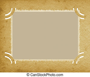Old Aged Vertical Edge Photo In Grunge Textured Vintage Retro Album, Blank Empty Photograph Portfolio Page Background, Stained Postcard Texture In Beige Sepia, Isolated Cuts