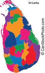 Colorful Sri Lanka map - Map of administrative divisions of...