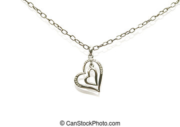 Two hearts necklace isolated on white background.