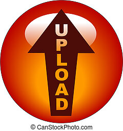 upload button or icon - red upload arrow web button or icon