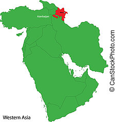 Azerbaijan map - Location of Azerbaijan on Western Asia
