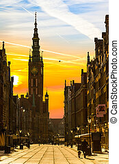 Sunrise in Gdansk, Poland. - Old town of Gdansk with City...