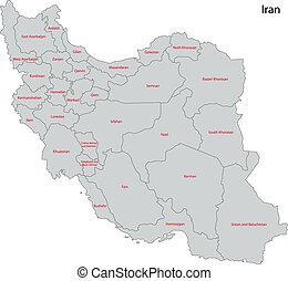 Grey Iran map - Map of administrative divisions of Iran