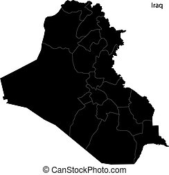 Black Iraq map - Map of administrative divisions of Iraq