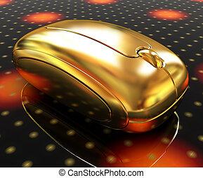 Golden mouse on a fantastic festive dark background
