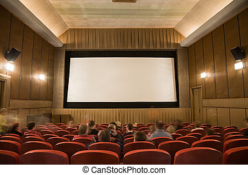 Cinema auditorium with people - Old retro style cinema...