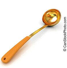 Gold soup ladle