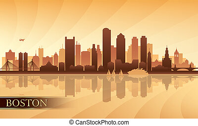 Boston city skyline silhouette background