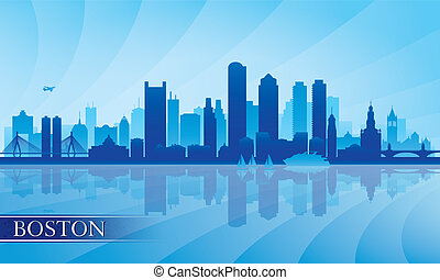 Boston city skyline silhouette background Vector...
