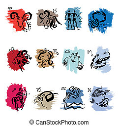 Horoscope. Twelve symbols of the zodiac signs.