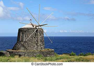 Old windmill on the island of Corvo Azores