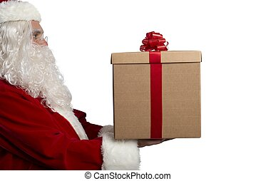 Santa Claus with a present on white background