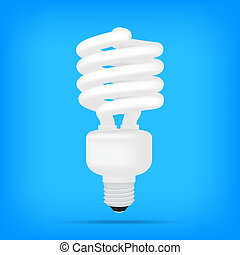 popular compact fluorescent lamps white energy saving light bulb realistic isolated