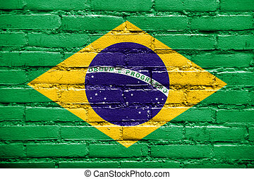 Brazil Flag painted on brick wall
