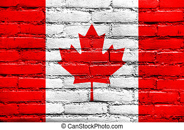 Canada Flag painted on brick wall