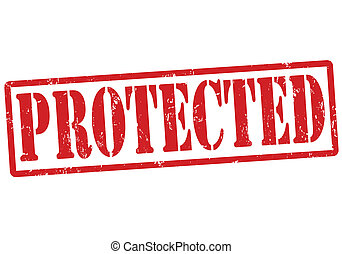 Protected stamp - Protected grunge rubber stamp on white,...