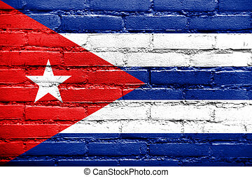 Cuba Flag painted on old brick wall