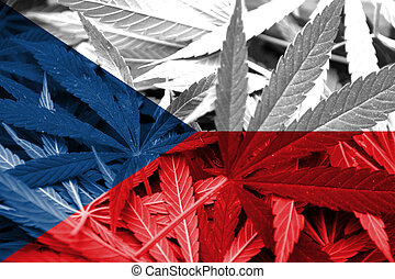 Czech Republic Flag on cannabis background. Drug policy....