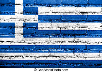 Greece Flag painted on brick wall