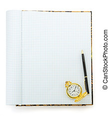 pen on checked notebook