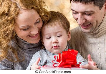 family celebrating christmas holiday