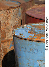 Stack of rusting barrels - Stack of industrial rusting...