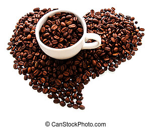 white cup with roasted coffee beans in the shape of the...