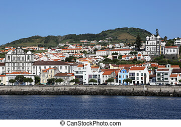 View of Horta on Faial Azores Portugal