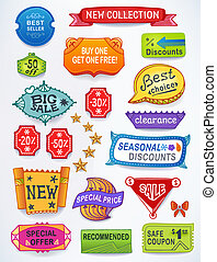 Sales messages set of promotional english text labels -...
