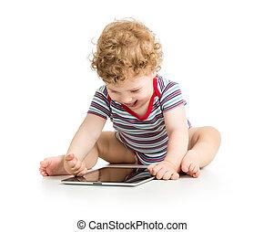 Junge, Tablette, Freigestellt,  digital,  baby, weißes, spielende