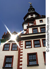 Old city hall, Chemnitz, Saxony, Germany - Reflecting sun...