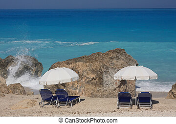 Beach on the Ionian island of Lefkas Greece
