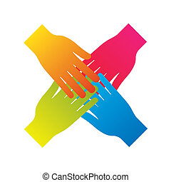 popular hand connecting teamwork icon concept isolated