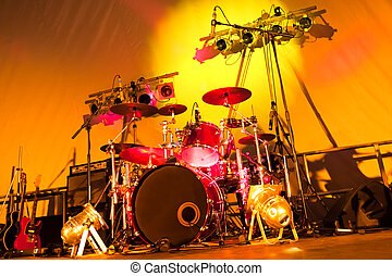 music and lights - rock band stage set-up with drums,...