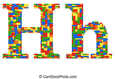 Letter H built from toy bricks in random colors - Letter H...